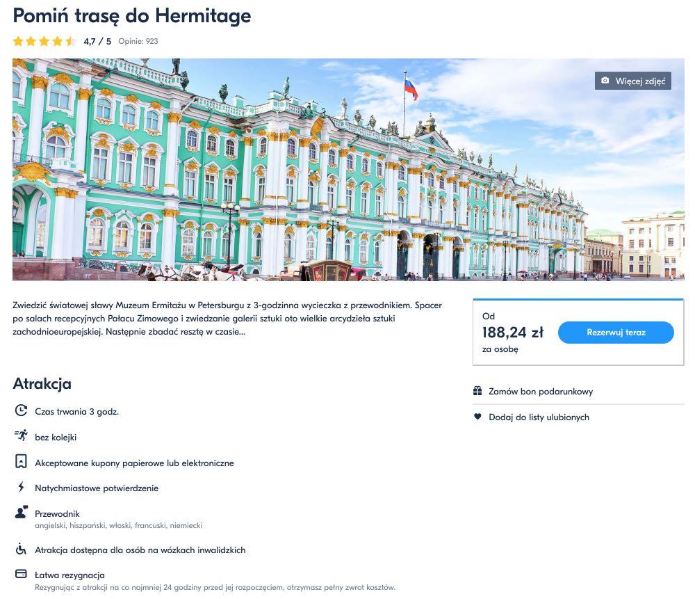 Pomin trase do Hermitage
