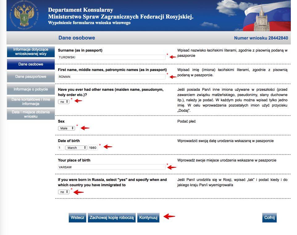 Rosyjski formularz wniosku wizowego 4
