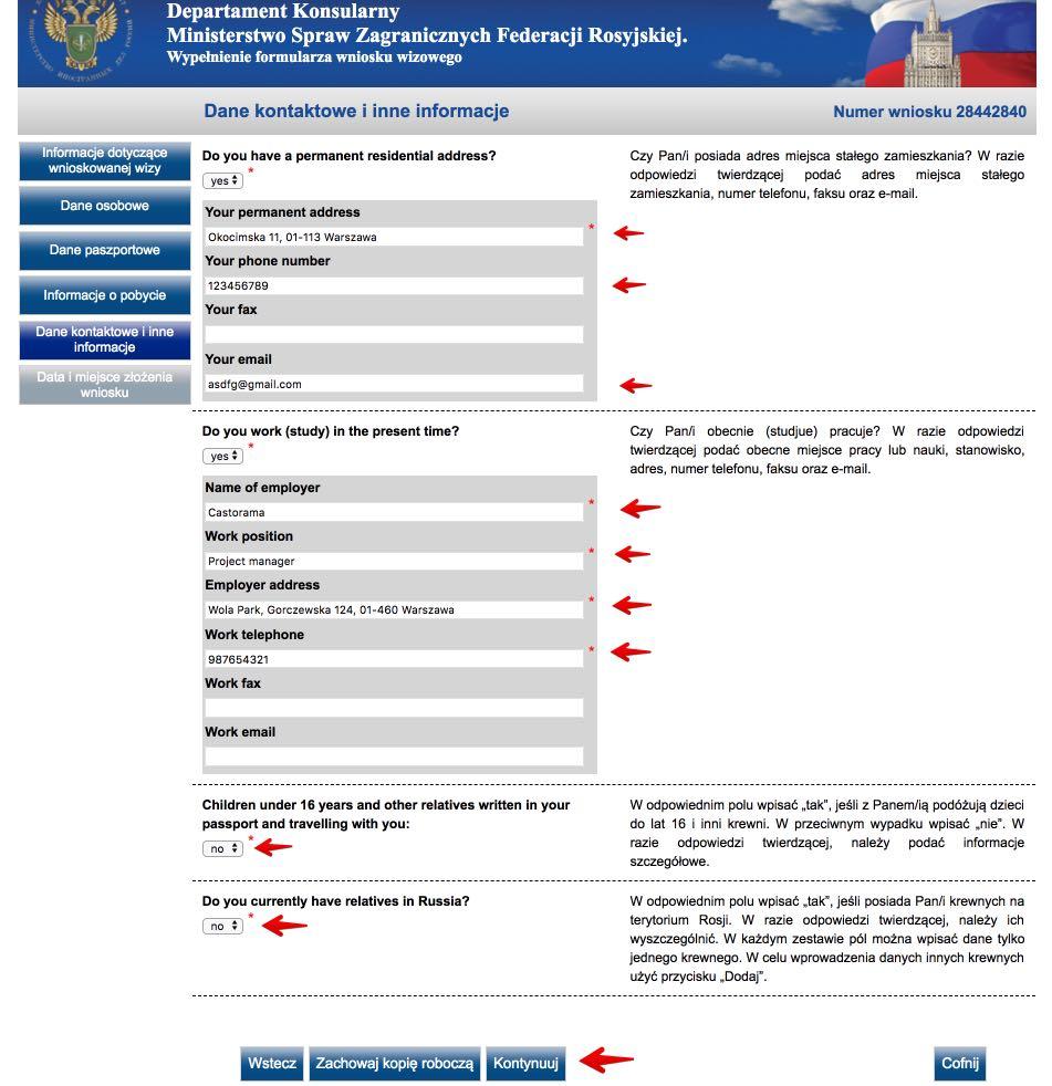 Rosyjski formularz wniosku wizowego 7