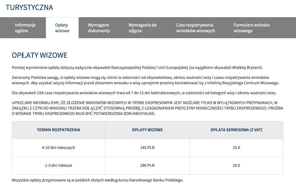 Rosja Informacje wizowe w Polsce - Rodzaje Wiz - Turystyczna