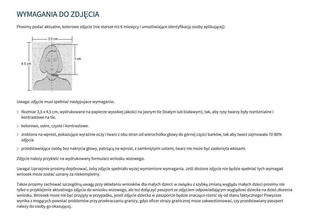 Wymagania fotograficzne dla wiz rosyjskich w polskim konsulacie